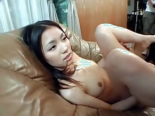 Asian babe gets pussy licked by a dog